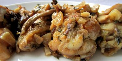 Pleurotus mushrooms with beef in the oven